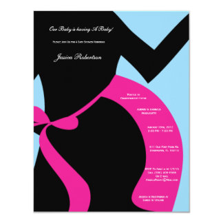 "Baby Shower, Pink Baby Bump, Tummy Writting 4.25"" X 5.5"" Invitation Card"