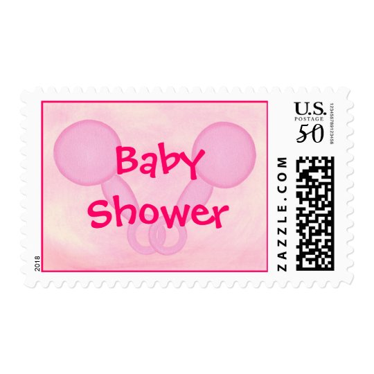 Baby Shower, Pink Baby Rattles, postage stamps