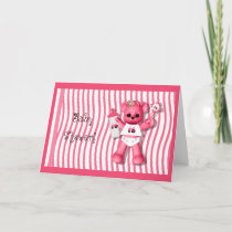 Baby Shower Pink Bear and Tractor Invitation