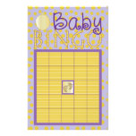 "Baby Shower Pink BINGO ""Dots,Stripes/Purple, Gold"" Flyer"