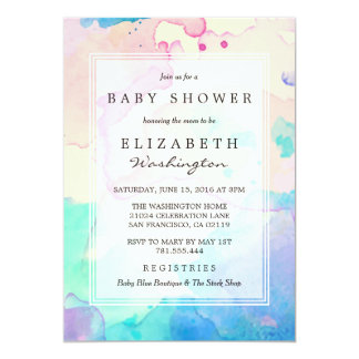 Baby Shower | Pink Blue & Purple Watercolor Splash Card