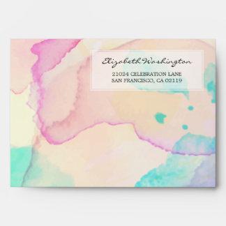 Baby Shower | Pink Blue & Purple Watercolor Splash Envelope