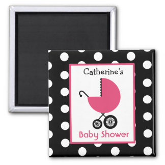 Baby Shower - Pink Carriage and Polka Dot 2 Inch Square Magnet