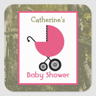 Baby Shower Pink Carriage & Camouflage Square Stickers