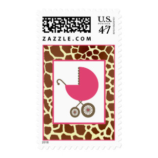 Baby Shower  - Pink Carriage & Giraff Print Stamp