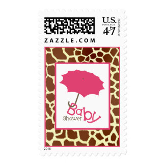 Baby Shower  - Pink Carriage & Giraffe Print Stamp