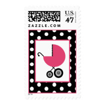 Baby Shower  - Pink Carriage & Polka Dot Postage