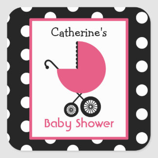 Baby Shower Pink Carriage Polka Dots Sticker