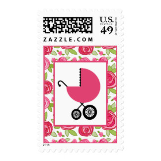 Baby Shower  - Pink Carriage & Roses Postage Stamp