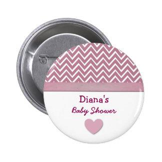 BABY SHOWER Pink Chevron Print Heart A02 Pinback Button