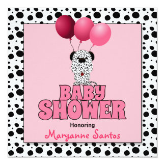 Baby Shower   Pink Dalmatian Puppy Card