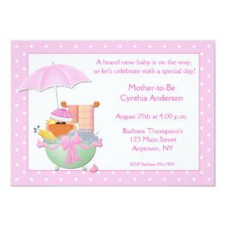 Baby Shower Pink Duck Bath 5x7 Paper Invitation Card