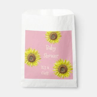Baby Shower Pink Favor Bags Sunflower Themed Party