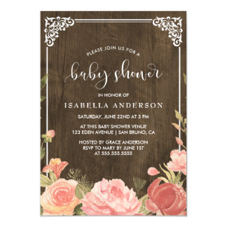 Baby Shower | Pink Floral Bouquet on Rustic Wood Magnetic Card