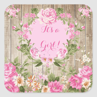 Baby Shower Pink Floral Rustic Wood Girl Square Sticker