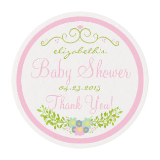 Baby Shower Pink Floral Wreath Edible Frosting Rounds