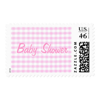 Baby Shower Pink Gingham Pattern Stamp