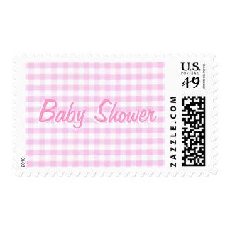 Baby Shower Pink Gingham Pattern Postage Stamp
