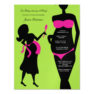"Baby Shower, Pink Girl Baby Bump, Tummy Writting 4.25"" X 5.5"" Invitation Card"