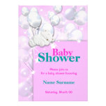 Baby shower pink girls cute personalized invitations