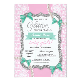 Baby Shower Pink Glitter Bow Twins Girls Invite