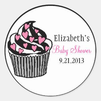 Baby Shower-Pink Heart Cupcake Round Sticker