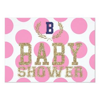 Baby Shower PINK Inspired Invitation Gold Glitter