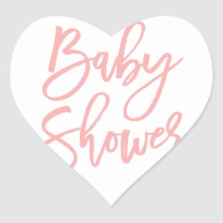 Baby Shower Pink Lettering Heart Sticker