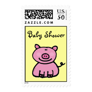 Baby Shower (pink pig) Postage