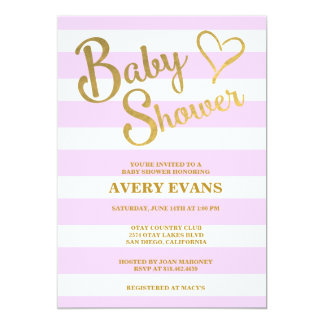 Baby Shower Pink Stripes with Gold Lettering Heart 5x7 Paper Invitation Card