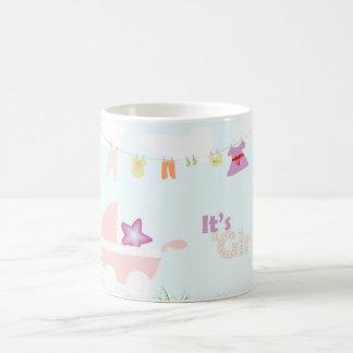 Baby shower - pink stroller, classic mug