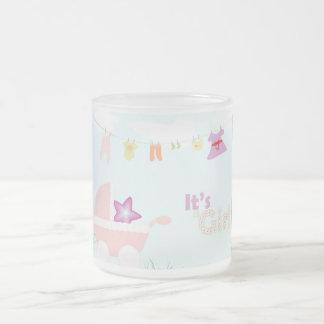Baby shower - pink stroller, frosted glass mug