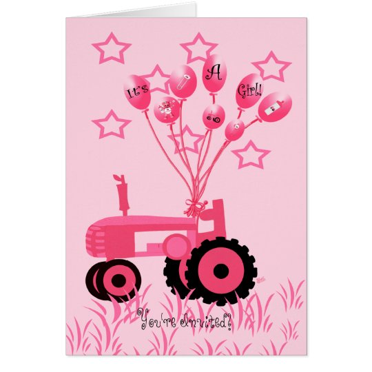 Baby Shower Pink Tractor with Balloons Invitation