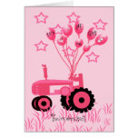 Baby Shower Pink Tractor with Balloons Invitation Greeting Card