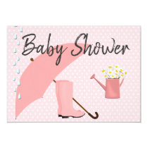 Baby Shower Pink Umbrella and Rain Boots Card