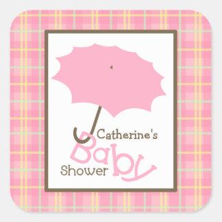 Baby Shower Pink Umbrella & Plaid Square Sticker
