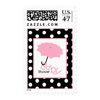 Baby Shower  - Pink Umbrella & Polka Dot Postage