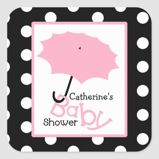 Baby Shower Pink Umbrella & Polka Dots Square Sticker