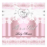 Baby Shower Pink White Lace Bow Diamonds Images Custom Announcements