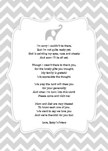 Baby Shower Poem Thank You Notes Gray Elephant Invitation
