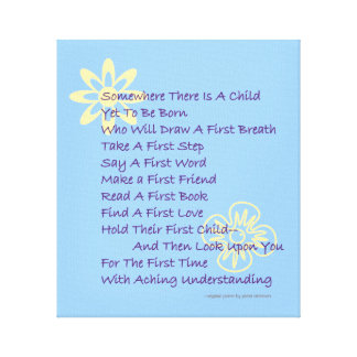 Baby Shower Poem Wrapped Canvas Print (Blue)