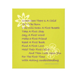 Baby Shower Poem Wrapped Canvas Print (Mod)