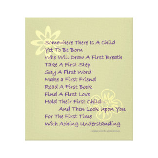Baby Shower Poetry Gift Wrapped Canvas Print