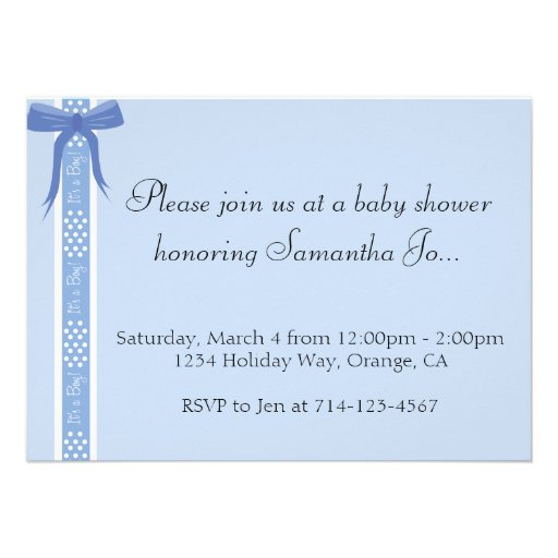 Baby shower polk dot ribbon personalized announcements zazzle