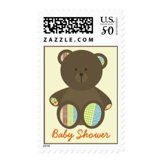Baby Shower Postage - Brown Stuffed Bear Polka Dot