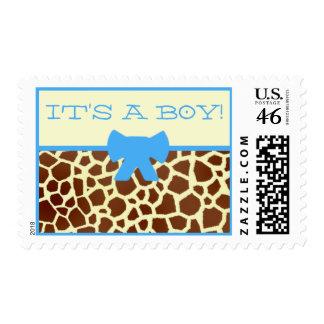 Baby Shower Postage - Giraffe Print And Blue
