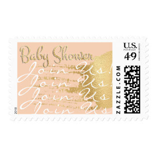Baby Shower Postage Stamp Gold/Pink