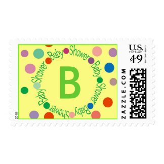 """BABY SHOWER POSTAGE STAMP INITIAL """"B"""""""