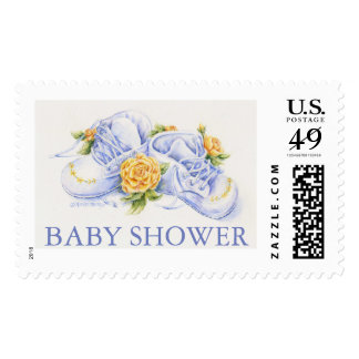 Baby Shower Postage Stamp Shoes With Yellow Roses