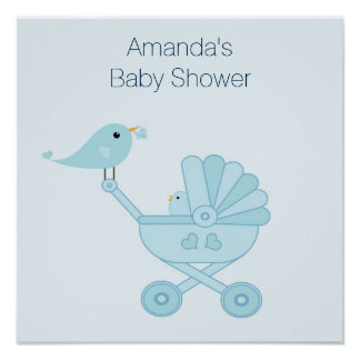 Baby Shower Poster with Blue Birds
